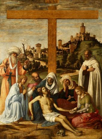 LAMENTATION OVER DEAD CHRIST WITH A CARMELITE MONK