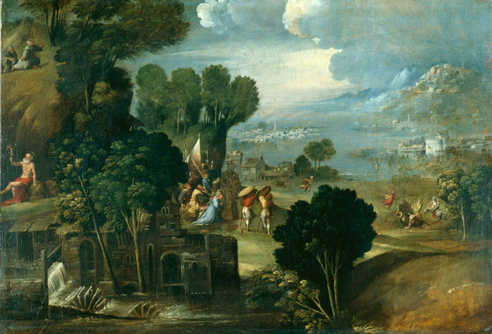 LANDSCAPE WITH SCENES FROM LIVES OF THE SAINTS