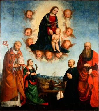 APPARITION OF MADONNA TO SAINTS AND DONOR