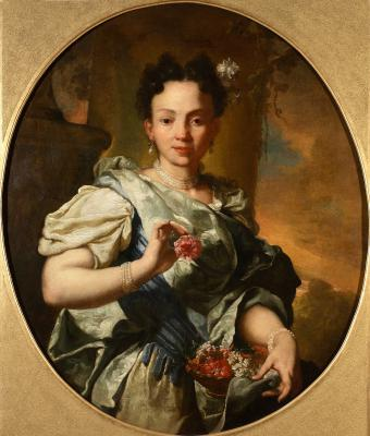 PORTRAIT OF YOUNG GIRL WITH FLOWER BASKET
