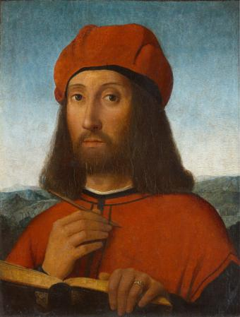 PORTRAIT OF A MAN WITH RED BERET AND BOOK