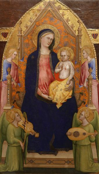 MADONNA AND CHILD ENTHRONED WITH ATTENDANT ANGELS