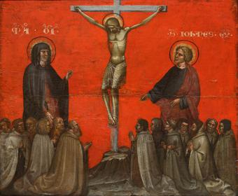 THE CRUCIFIXION WITH THE VIRGIN, SAINT JOHN THE EVANGELIST AND CARMELITE MONKS