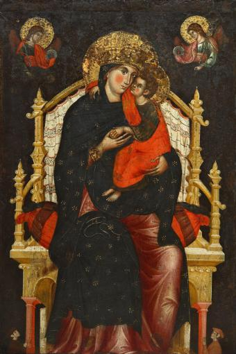 MADONNA AND CHILD ENTHRONED WITH TWO DONORS AND ANGELS