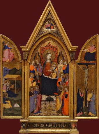 MADONNA AND CHILD ENTHRONED WITH SAINTS AND ANGELS. THE ANNUNCIATION. THE NATIVITY. THE CRUCIFIXION